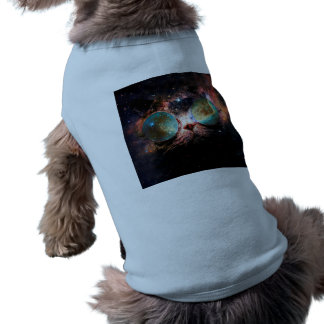 Cool Space Cat with Telescope Glasses in space Pet Shirt