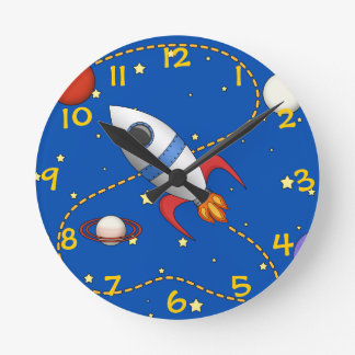 Cool Space Rocketship in Orbit Cartoon Round Clock