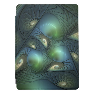 Cool Spirals Beige Green Turquoise Fractal iPad Pro Cover