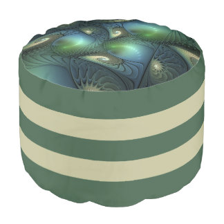 Cool Spirals Beige Green Turquoise Fractal Pouf