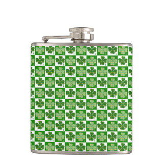 Cool St. Patrick's Day Four-leaf Clover Pattern Hip Flask