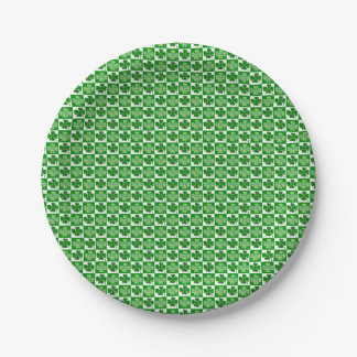 Cool St. Patrick's Day Four-leaf Clover Pattern Paper Plate