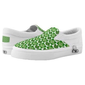 Cool St. Patrick's Day Four-leaf Clover Pattern Slip-On Sneakers