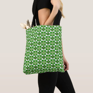 Cool St. Patrick's Day Four-leaf Clover Pattern Tote Bag