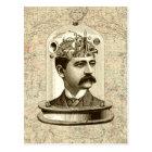 Cool Steampunk clockwork brain, head in jar art Postcard