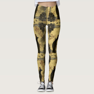 Cool Steampunk Crows and Gears Leggings