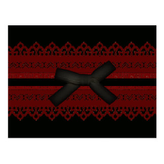 Cool Steampunk Gothic Red Lace Black bow Postcard