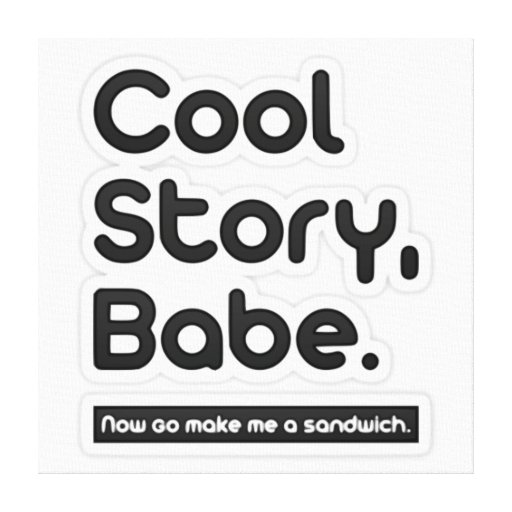 Cool Story Babe, Now Go Make Me a Sandwich Gallery Wrapped Canvas