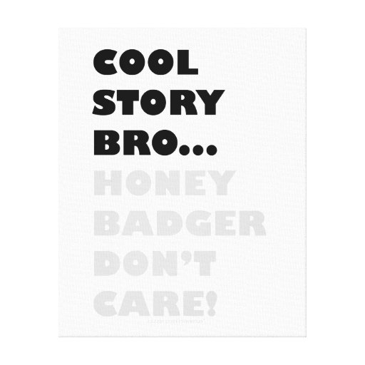 Cool Story Bro... Honey Badger Don't Care! Canvas Gallery Wrap Canvas