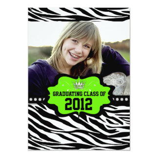 Cool Striped Zebra Princess 2012 Graduation Invite