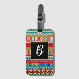 cool stylish colorful stripes with monogram luggage tag