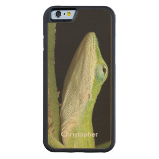 Cool Stylish Green Anole Lizard Custom Handmade Maple iPhone 6 Bumper