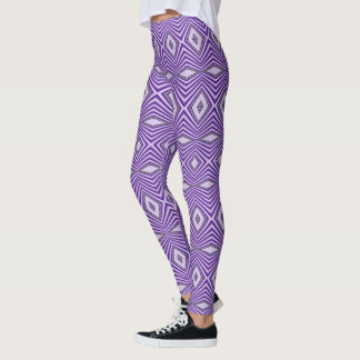 Cool Stylish Purple Diamond Geometric Pattern Leggings