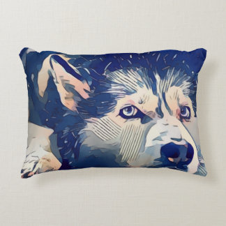 Cool Stylized Husky Drawing Accent Pillow