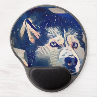 Cool Stylized Husky Drawing Gel Mouse Pad