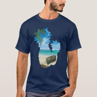 Cool Summer Beach Pineapples Palm Boat And Sea T-Shirt
