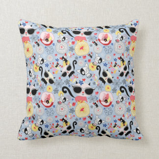 Cool Summer Kitty Throw Pillow