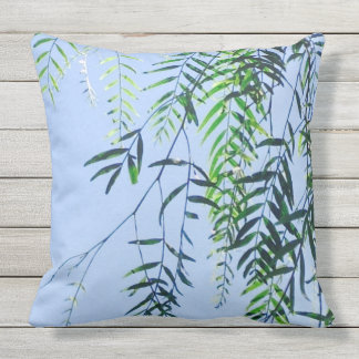 Cool Summer sky with fresh green leaves. Throw Pillow