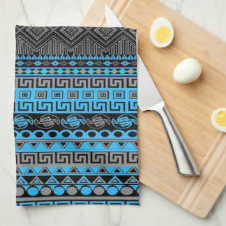 Cool summer trendy neon blue Aztec pattern Kitchen Towel