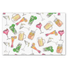 Cool Summer Watercolor Painted Mixed Drinks Patter Tissue Paper
