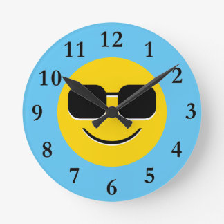 Cool Sunglasses Emoji Round Clock