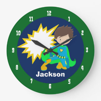 Cool Superhero Boy Large Clock