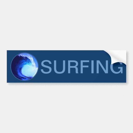 cool surf style blue wave bumper sticker