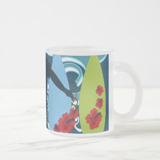 Cool Surfer Dude Surfing Beach Ocean Design Frosted Glass Coffee Mug