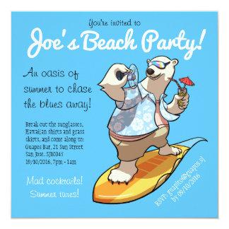 Cool Surfing Polar Bear with Cocktail Cartoon Card