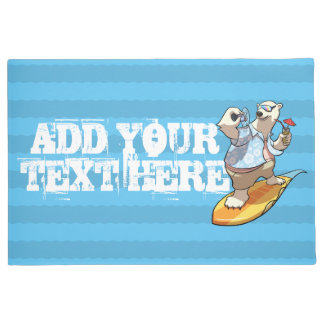Cool Surfing Polar Bear with Cocktail Cartoon Doormat