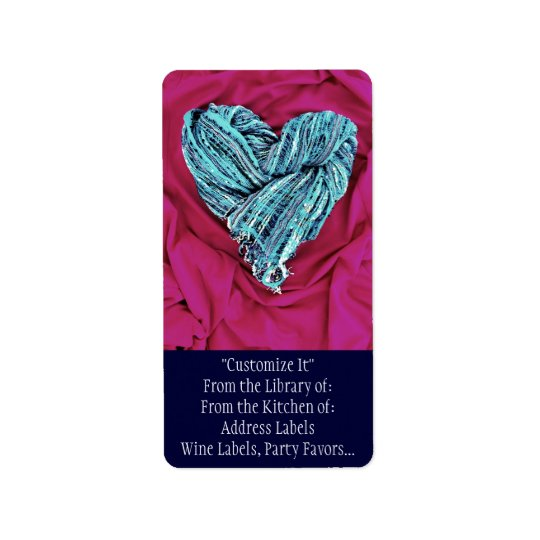 Cool Teal Blue Heart on Hot Pink Fabric Lovely