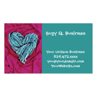 Cool Teal Blue Heart on Hot Pink Fabric Lovely Pack Of Standard Business Cards