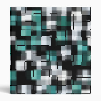 COOL Teal Green Blue Black White Abstract Plaid Vinyl Binder