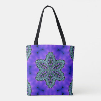 Cool Teal Green Star Lotus Aura Funky Tote
