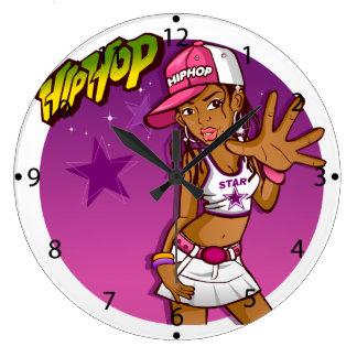 Cool Teen Hip Hop Rapper Pink and Purple Cartoon Wallclock