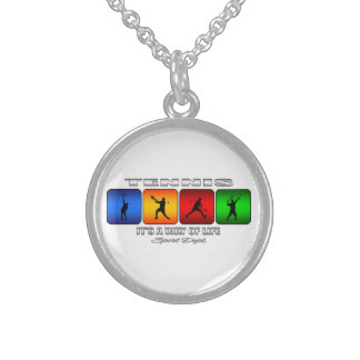 Cool Tennis It Is A Way Of Life (Male) Sterling Silver Necklace