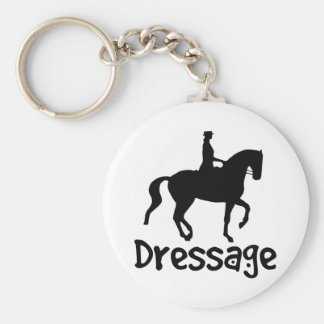 Cool Text Dressage w/ Piaffe Horse Basic Round Button Keychain