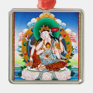 Cool tibetan thangka Cintamanicakra Avalokitesvara Silver-Colored Square Ornament