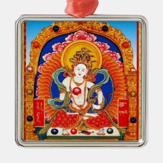 Cool tibetan thangka Dragon King Bodhisattva Silver-Colored Square Ornament