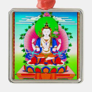 Cool tibetan thangka Shadakshari Avalokiteshvara Silver-Colored Square Ornament
