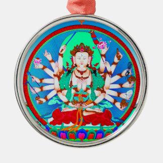 Cool tibetan thangka tattoo Cundhi Bodhisattva Silver-Colored Round Ornament