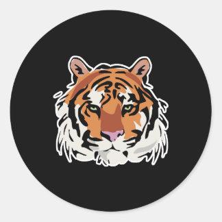 cool tiger face design classic round sticker