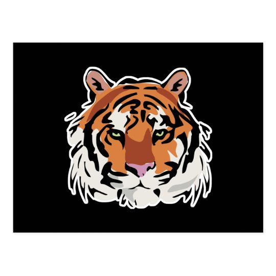 cool tiger face design postcard