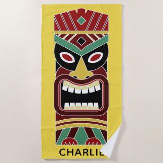 Cool Tiki Totem custom name & color beach towel 1