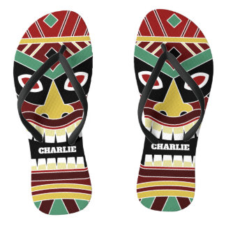 Cool Tiki Totem custom name flip flops