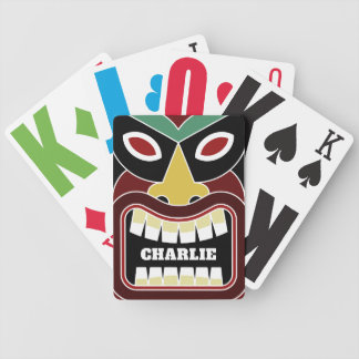 Cool Tiki Totem custom name playing cards