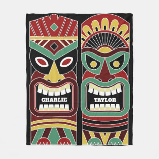 Cool Tiki Totems custom names fleece blankets