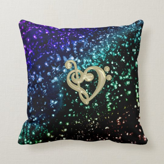 Cool Toned Glitter Gold Music Clef Heart Throw Pillow