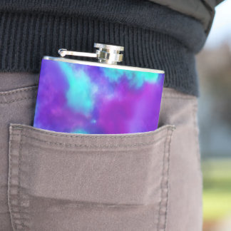 Cool Toned Watercolor Pattern in Purple &  Teal Hip Flask