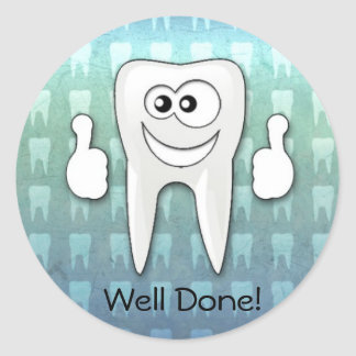 """Cool tooth  """"well done"""" sticker"""